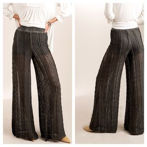 Boho Black Wide-leg See Through Lace & Lined Pants